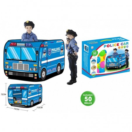 Polizei-Zelt mit Spielbällen